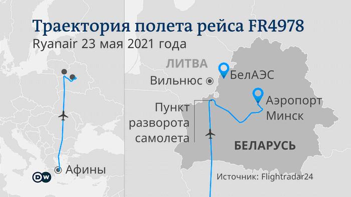 Траектория полета рейса Ryanair 4978 RUS