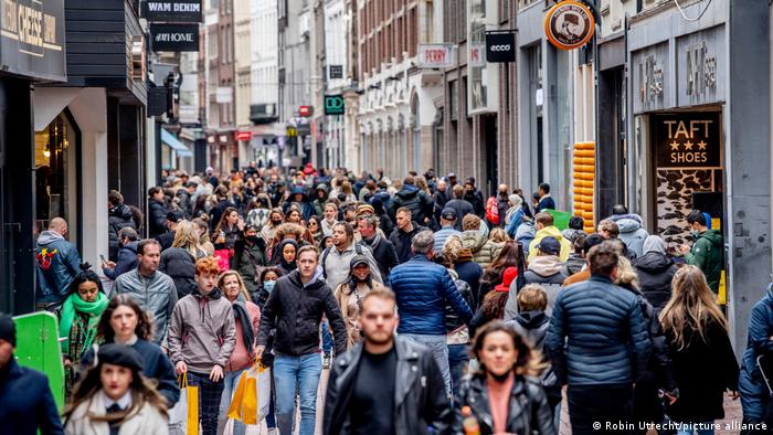 A high street packed with shoppers