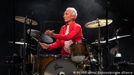 Charlie Watts playing the drums in California in 2019.
