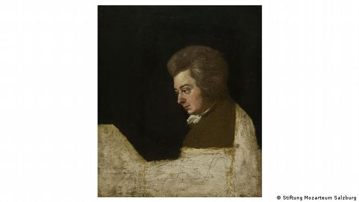 A dark portrait of Mozart by Joseph Lange