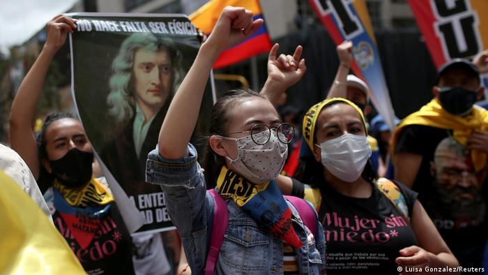 Foto de manifestantes en Colombia