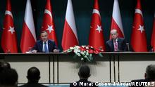 Polish President Andrzej Duda speaks during a joint news conference with his Turkish counterpart Tayyip Erdogan in Ankara, Turkey May 24, 2021. Murat Cetinmuhurdar/Presidential Press Office/Handout via REUTERS ATTENTION EDITORS - THIS PICTURE WAS PROVIDED BY A THIRD PARTY. NO RESALES. NO ARCHIVE.