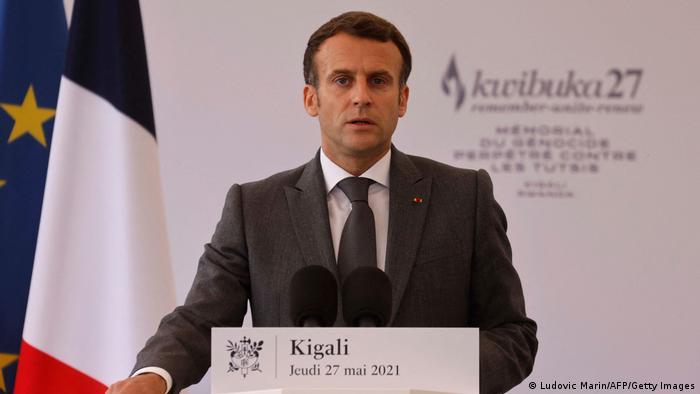 Emmanuel Macron faz discurso em Kigali