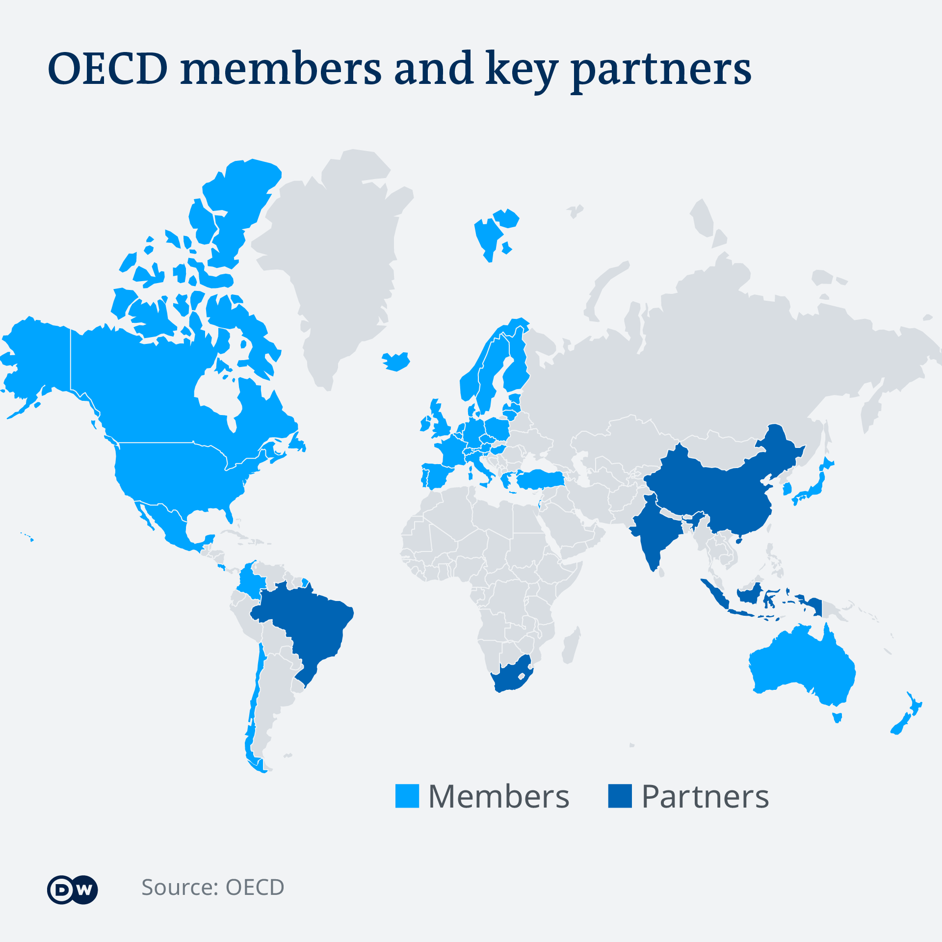 A global map showing OECD members and key partners