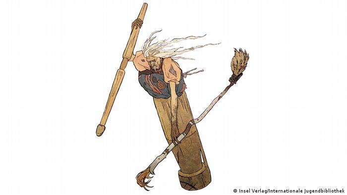 Иллюстрация Баба-яга в ступе