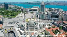 ISTANBUL, TURKEY - MAY 25: A drone photo shows aerial view of the mosque, which construction process was began 4 years ago, at Taksim Square in Istanbul, Turkey on May 25, 2021. The mosque which became one of the symbols of Taksim Square, has the signatures of architects Sefik Birkiye and Selim Dalaman, will open its doors for visitors on tomorrow. (Photo by Muhammed Enes Yildirim/Anadolu Agency via Getty Images)