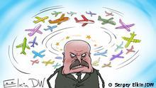 Moskau, 27.05.2021 Nach der Notlandung von Ryanair-Flugzeuges in Minsk verzichten sich die europäischen Fluggesellschaften über Belarus zu fliegen. via Ilya Koval