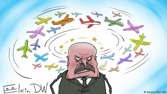 Самолеты облетают Беларусь - карикатура Сергея Елкина