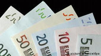 Euro notes and coins in various denominations