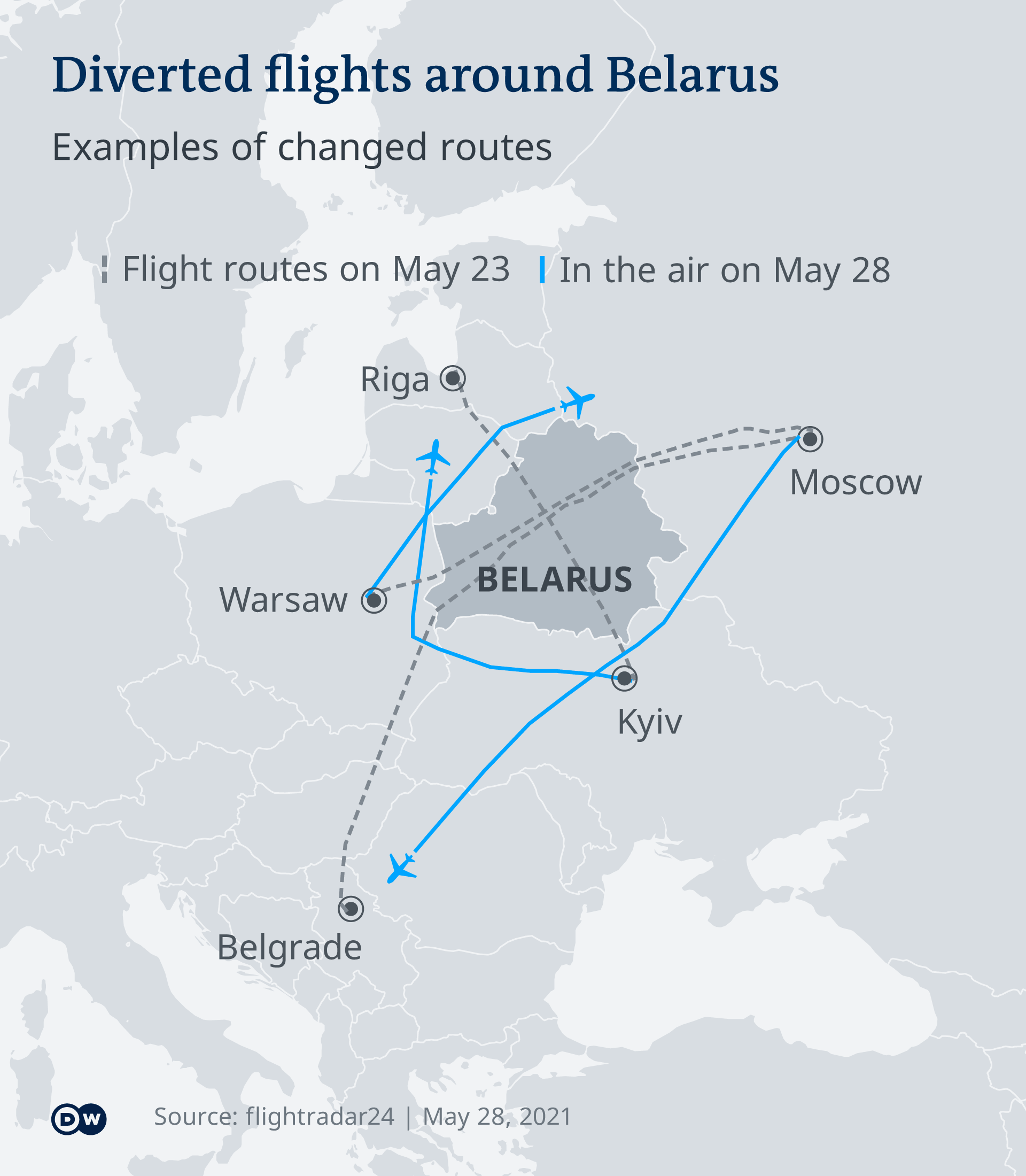 Infografik umgeleitete Flüge um Belarus EN