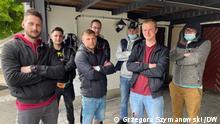 Polnische Paketbote, die um Lohnnachzahlung vom GSL-Subunternehmer Lohof Transport kämpfen.