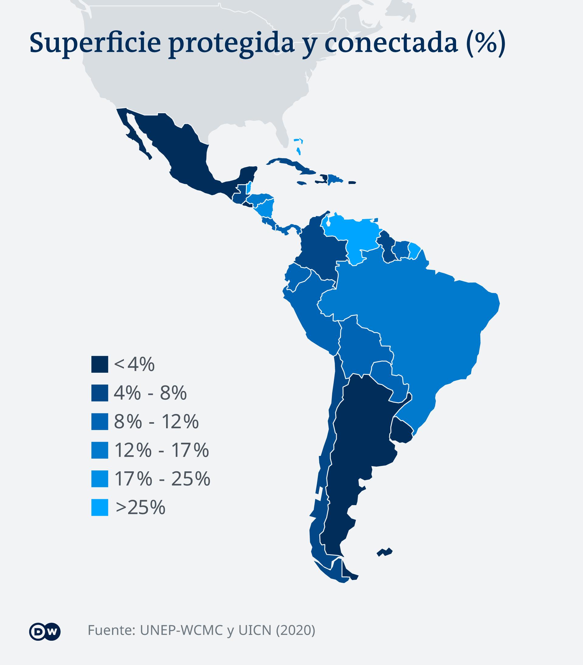 Infografik Karte Naturschutzgebiete in Lateinamerika ES