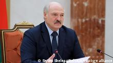 Belarus President Alexander Lukashenko gestures while addressing Prime Ministers from the Commonwealth of Independent States during a meeting, in Minsk, Belarus, Friday, May 28, 2021. Belarus' authoritarian leader is heading to Russia to seek assistance amid a bruising showdown with the European Union over the diversion of a flight to arrest a dissident journalist. Belarusian President Alexander Lukashenko is set to meet Friday with Russia's Vladimir Putin at his Black Sea residence in Sochi. (Sergei Shelega/BelTA Pool Photo via AP)