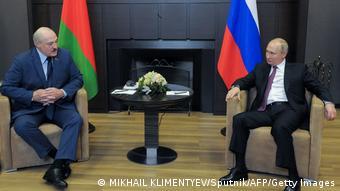 Russland Sotschi   Präsident Putin und Alexander Lukaschenko Belarus