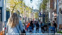 People are taking the streets in the city, to enjoy the good weather, during the King's Day celebration during the Corona pandemic, in Nijmegen, Netherlands, Netherlands on April 27th 2021. (Photo by Romy Arroyo Fernandez/NurPhoto)