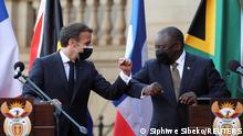 Südafrika Präsident Emmanuel Macron und Präsident Cyril Ramaphosa
