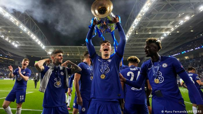 Havertz lifts the trophy having steered Chelsea to their second Champions League crown