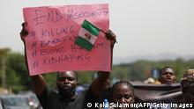Parents and relatives of students from the Federal College of Forestry Mechanization in Kaduna who have been abducted, hold placards during a demonstration in Abuja on May 4, 2021 to demand the release of their families who has spent 55 days in captivity. - Gunmen raided a college in northwestern Nigeria and kidnapped at least 30 students, government officials and parents said on March 12, 2021, in the latest mass abduction targeting a school. (Photo by Kola Sulaimon / AFP) (Photo by KOLA SULAIMON/AFP via Getty Images)