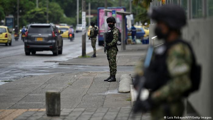 Soldiers posted on the streets of Cali, Colombia