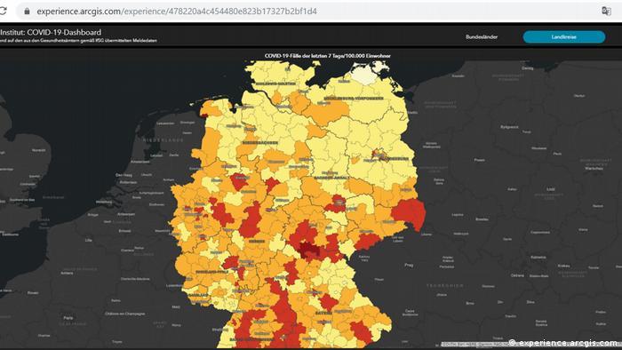 Χάρτης του Ινστιτούτου Ρόμπερτ Κοχ για τη διάδοση της πανδημίας στη Γερμανία