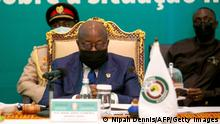 President of Ghana Nana Akufo-Addo chairs the ECOWAS Extraordinary Summit on the situation in Mali in Accra on May 30, 2021. - West African leaders met in Ghana today to discuss a response to Mali's second coup in nine months, which has sparked warnings of fresh sanctions and deep concerns over stability in the volatile Sahel region. (Photo by Nipah Dennis / AFP) (Photo by NIPAH DENNIS/AFP via Getty Images)