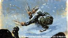 A painting of Wolverine in the snow.