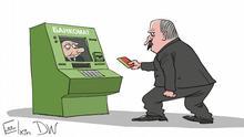 Karikatur von Sergey Elkin zu Lukaschenko erhält von Putin 500 Millionen Euro Belorussischer Herrscher Alexander Lukaschenko kommt zum Geldautomaten, in dem russischer Präsident Wladimir Putin sitzt.