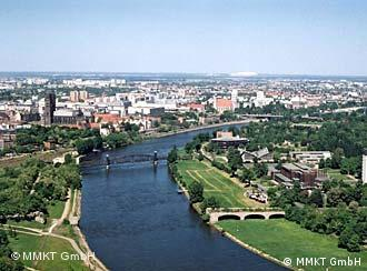 The Elbe River runs from Hamburg, through Magdeburg to the Czech border