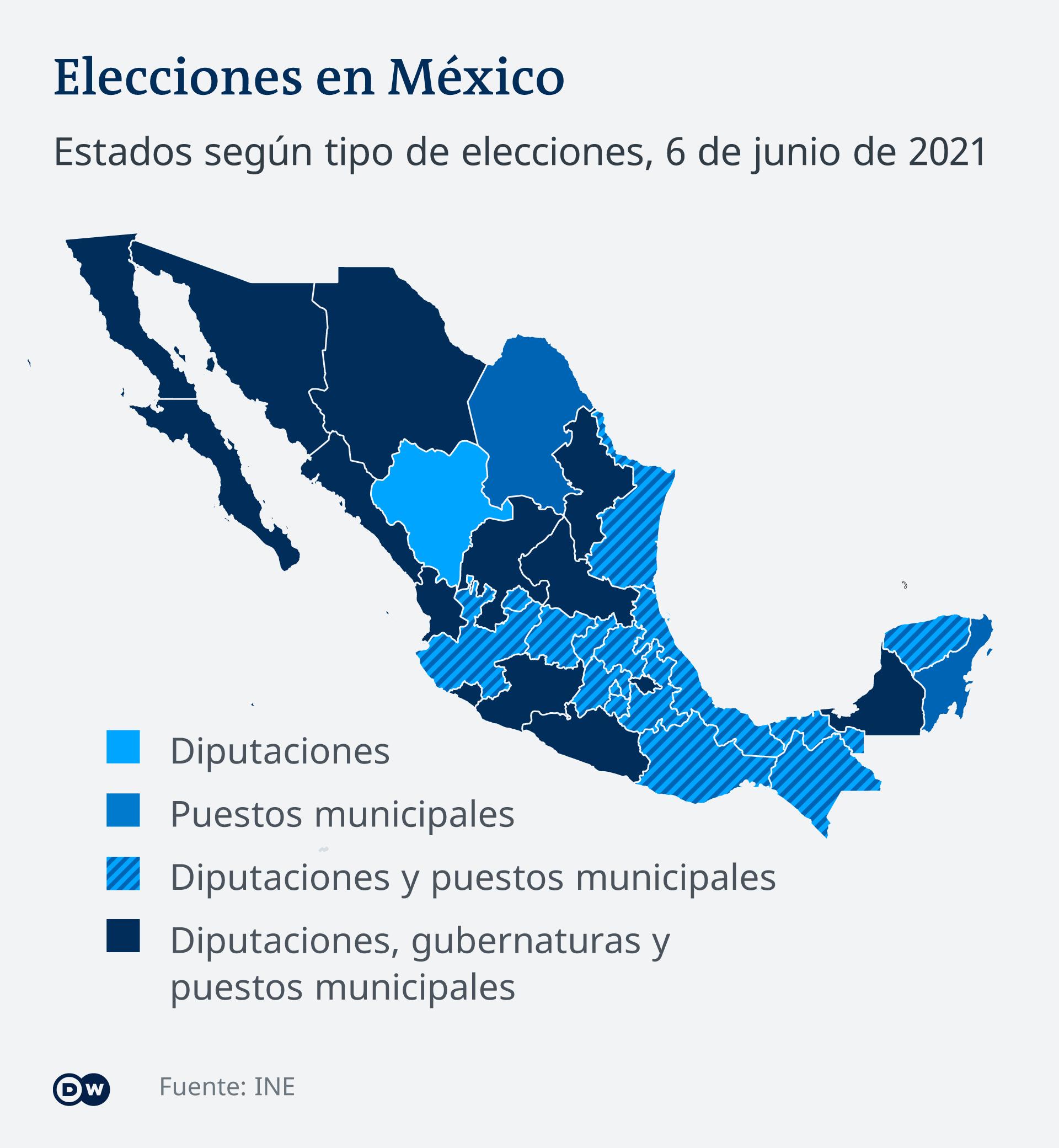 Infografik Karte Wahlen Mexiko 2021 ES