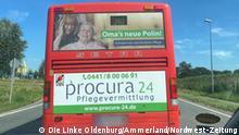 VBN-Bus 340 mit Werbung der Procura24 Pflegevermittlung Die Linke Oldenburg/Ammerland