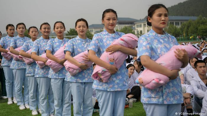 Chinese nursing students show baby care skills