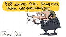 Karikatur von Sergey Elkin. Thema: Neue Welle von Verfolgungen der Opposition in Russland Karikatur - russischer Präsident Wladimir Putin am Telefon: Alles muss gesäubert und mit Asphalt gleich gemacht.