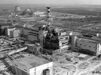 Aaerial view of the Chernobyl nuclear plant shows damage from an explosion and fire in reactor four on April 26, 1986 that sent large amounts of radioactive material into the atmosphere.