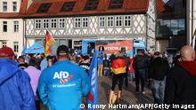 Thuringia's leader of far-right Alternative for Germany (AfD) party Bjoern Hoecke addresses an election rally in Haldensleben, eastern Germany on May 28, 2021. - Saxony-Anhalt will go to the polls in the regional elections on June 6, 2021. (Photo by Ronny Hartmann / AFP) (Photo by RONNY HARTMANN/AFP via Getty Images)