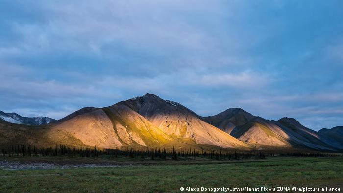 Evening light strikes the Brooks Range of mountains at the Arctic National Wildlife Refuge in Alaska