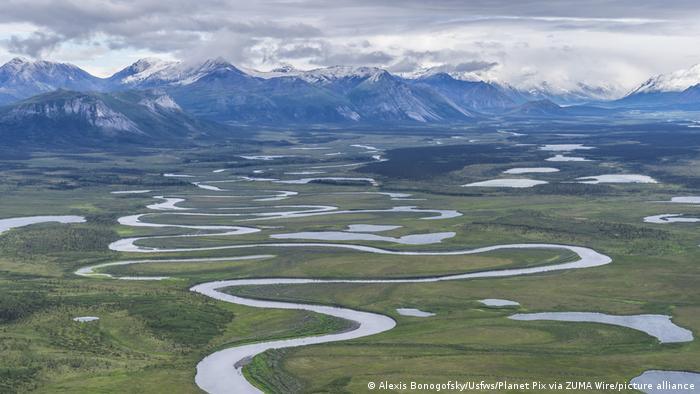 An aerial shot shows rivers curving through Alaska's Arctic National Wildlife Refuge