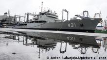 27.02.2020 JAKARTA, INDONESIA - FEBRUARY 27: Iranian navy stand on the Kharg ship at Tanjung Priok port in Jakarta, Indonesia on February 27, 2020. The Kharg ship visit is part of 70th diplomatic relationship Islamic Republic of Iran-Republic of Indonesia. Kharg starts the journey from Abbas harbour in Iran, carries 300 Iranian navy student who will do sport activity together with the Indonesian navy during docked in Jakarta 25-28 February. Anton Raharjo / Anadolu Agency