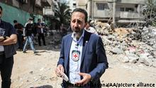 GAZA CITY, GAZA - JUNE 2, 2021 : Director-General of the International Committee of the Red Cross (ICRC), Robert Mardini speaks as he tours areas destroyed by Israeli airstrikes during his visit to the Gaza Strip, in Gaza City, Gaza on June 2, 2021. Mustafa Hassona / Anadolu Agency