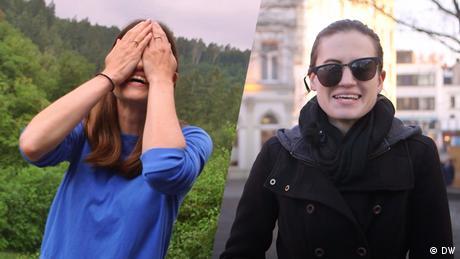 Zweimal Rachel Stewart von Meet the Germans: Links schlägt sie die Hände vors Gesicht, rechts hat sie eine Sonnenbrille schief aufgesetzt