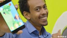 Nathan Damitew and his application called Beblocky Titel: Nathan damitew is an Ethiopian entrepreneur who founded Beblocky Application. BeBlocky is an educational app for kids that makes learning computer programming interactive and fun. Copyright: Nathan Damitew @privat Schlagworte: Ethiopia, Addis Ababa, BeBlocky Application ,Nathan Damitew , Children game , kids App