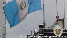 (140820) -- GUATEMALA CITY, Aug. 20, 2014 () -- Guatemala's national flag waves at half mast at the Ministry of Defense in memory of General Rudy Israel Ortiz, National Defense Chief of Staff, in Guatemala City, capital of Guatemala, on Aug. 20, 2014. Guatemalan President Otto Perez Molina on Wednesday lamented the death of one of the country's three top military commanders, National Defense Chief of Staff Gen. Rudy Israel Ortiz. (/Luis Echeverria) (fnc) (ah)