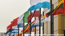 Fahnen der Mitgliedsländer sind aufgezogen vor dem Europäischen Gerichtshofs (EuGH), aufgenommen am 11.02.2017 in Luxemburg (Luxembourg). Der EuGH soll gewährleisten, dass EU-Recht in allen EU-Mitgliedsländern auf die gleiche Weise angewendet und durchgesetzt wird. Foto:Winfried Rothermel