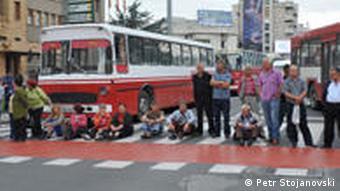 Proteste der entlassenen Arbeitnehmer in Mazedonien