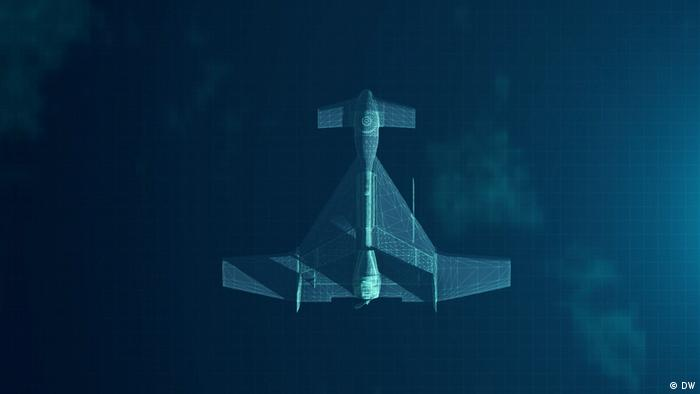Combat drone in flight as seen from above