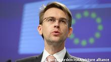 BRUSSELS, BELGIUM - MARCH 05: European Commission Lead Spokesperson for Foreign Affairs and Security Policy Peter Stano speaks during a conference in Brussels, Belgium on March 05, 2020. Dursun Aydemir / Anadolu Agency