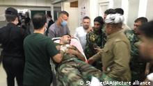 DUHOK, IRAQ - JUNE 05: A wounded Peshmerga is being dispatched to a hospital after five Peshmerga were killed on Saturday in an attack by PKK, listed as a terrorist organization by Turkey, the U.S. and the EU, in Duhok, Iraq on June 05, 2021. Two other Peshmerga injured in the attack. Stringer / Anadolu Agency