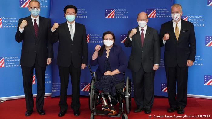 US senators with the Taiwanese foreign minister and director of American Institute in Taiwan at a press conference. Central News Agency/Pool via REUTERS