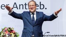 Armin Laschet, State Premier of North-Rhine Westphalia and a leader of the Christian Democratic Union party CDU reacts during a CDU party convention in NRW's capital Duesseldorf, Germany, June 5, 2021. Picture taken June 5, 2021. Marcel Kusch/Pool via REUTERS.