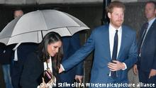 Duke of Edinburgh death. File photo dated 1/2/2018 of Prince Harry and Meghan Markle arrive to attend the annual Endeavour Fund Awards at Goldsmiths' Hall in London, to celebrate the achievements of wounded, injured and sick servicemen and women who have taken part in sporting and adventure challenges. Almost 70 years ago an abdicated king returned from the US for a royal funeral, while his American wife was absent. Issue date: Thursday April 15, 2021. See PA story FUNERAL Philip. Photo credit should read: John Stillwell/PA Wire URN:59196115