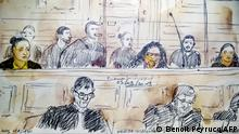 This court sketch made on September 23, 2019 in Paris courthouse, shows (LtoR) Ines Madani, Ornella Gilligmann and Sarah Hervouet during the trial of five women on charges of an alleged plot to detonate a car bomb in front of Paris' Notre-Dame cathedral. - It is the first time women have appeared on charges of jihadist terrorism in an assize court, which handles the most serious crimes in France. Four of the women risk up to life in prison and the fifth a 30-year sentence for the September 2016 plot at the mediaeval cathedral, which in April 2019 was ravaged by an accidental fire. (Photo by Benoit PEYRUCQ / AFP)